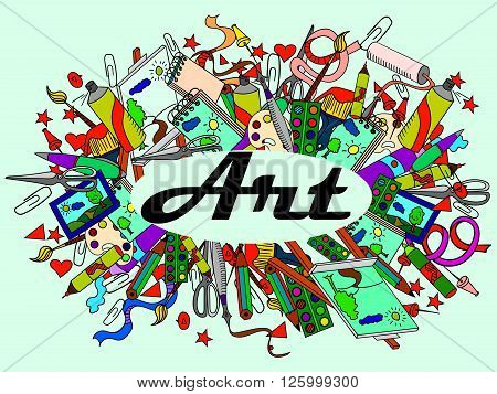Stationery shop coloring book line art design vector illustration. Art separate objects. Hand drawn doodle design elements.