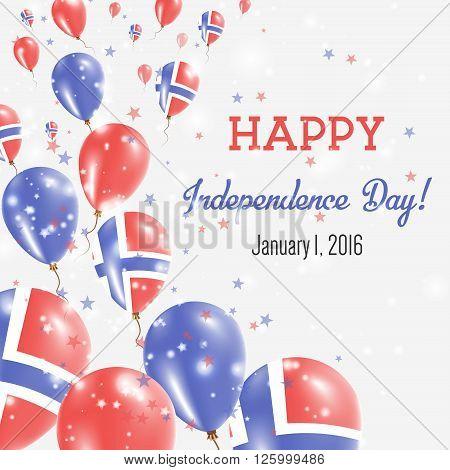 Svalbard And Jan Mayen Independence Day Greeting Card. Flying Balloons In Svalbard And Jan Mayen Nat