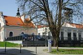 "Wieliczka, Poland - April 04, 2016: Tadeusz Ko?ciuszko Square. ""Regis"" - the historic salt mine shaft. The historic mine is now a tourist attraction. poster"