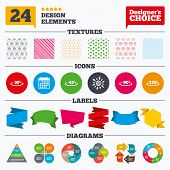 Banner tags, stickers and chart graph. Angle 30-135 degrees icons. Geometry math signs symbols. Full complete rotation arrow. Linear patterns and textures. poster