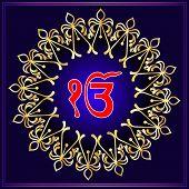 Ek Onkar, Khanda The Holy Motif Vector Illustration poster