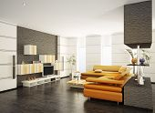 Modern living room with orange sofa and LCD interior 3d render poster