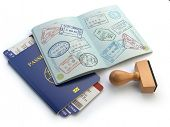 Opened passport with visa stamps and airline boading pass tickets isolated on white. Travel or turism concept. 3d illustration poster