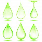 Set of opaque green drops on white background poster