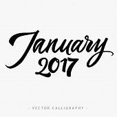 Black calligraphic January twenty seventeen  inscription on white background poster