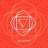 Lines geometric illustration of one of the seven chakras - Muladhara on the red background the symbol of Hinduism Buddhism. Hand painted mandala texture. For design associated with yoga and India. poster