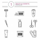 Vector modern line style cosmetics icons set of epilation. Bottle of wax, bottle of sugaring, scissors, wax strips, shaving razor, eyebrow tweezers, clipper. poster