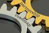 Partnership Roadmap concept on the gearwheels 3D rendering poster