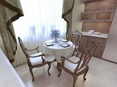 Dining room neoclassicism style, wooden furniture. 3d render poster