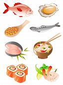 set of vector fish and seafood icons poster