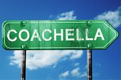 coachella road sign on a blue sky background poster