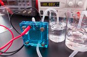 Hydrogen fuel cell, A fuel cell is a device that converts the chemical energy from a fuel into electricity  poster
