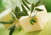 Natural Handmade Soap and Olives.Very Sallow DOF poster
