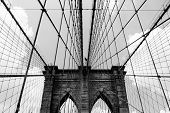 The Brooklyn Bridge is a bridge in New York City and is one of the oldest suspension bridges in the United States. Completed in 1883 it connects the boroughs of Manhattan and Brooklyn by spanning the East River. poster