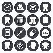 Wifi, calendar and mobile payments. Tooth, dental care icons. Stomatology, syringe and implant signs. Healthy teeth, caries and pills symbols. Sms speech bubble, go to web symbols. poster