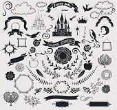 Set of Fairy Tale Graphic Vector Elements - Fairy tale-themed set of crisp black clip art, including castle, banners, frames, roses, clouds, birds, branches, flowers, swirls and fun shapes; hand drawn poster
