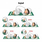 Muslim prayer position guide step by step perform by boy prostrating or sujud and position of the feet with wrong position poster