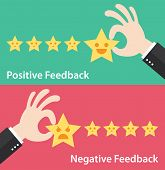 Business hand give five star of positive and negative feedback. Vector illustration of customer feedback concept. Minimal and flat design poster