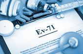 Ev-71, Medical Concept with Selective Focus. Ev-71 - Printed Diagnosis with Blurred Text. Diagnosis - Ev-71 On Background of Medicaments Composition - Pills, Injections and Syringe. 3D. poster