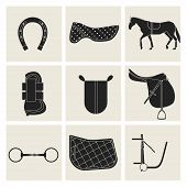 Collection of flat black icons of equipment for horse. Saddle horse shoes bridle snaffle sweat cloth gel foot protection. poster