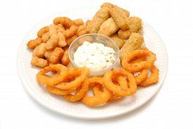 Popcorn Shrimp Mozzarella Sticks & Onion Rings Served with Dipping Sauce