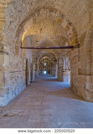 Passage at the Citadel of Qaitbay, an old historical castle in Alexandria, Egypt, a fifteen century defensive fortress located on the Mediterranean sea coast