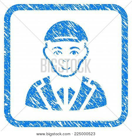 Gentleman rubber seal imitation. Icon vector symbol with scratched design and corrosion texture in rounded square. Scratched blue stamp imitation. Human face has cheerful feeling.