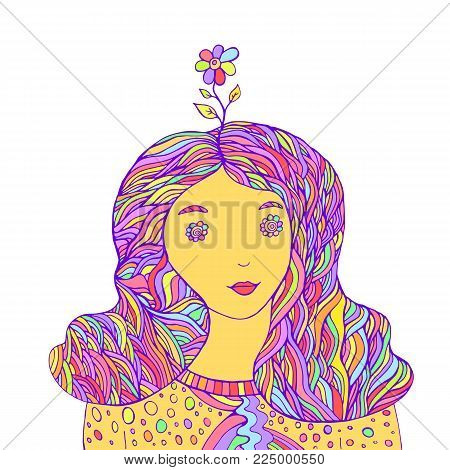 Lovely girl hipster with a flower on her head, pastel color, vintage style.Isolated pattern. Cartoon character fantasy hippy girl.Funny doodle style.Vector hand drawn colored coloring page for adults.