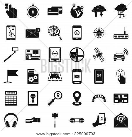 Portable widget icons set. Simple set of 36 portable widget vector icons for web isolated on white background