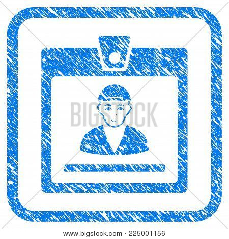 Guy Access Card rubber seal imitation. Icon vector symbol with unclean design and unclean texture in rounded square. Scratched blue sticker. Dude face has joy emotions.