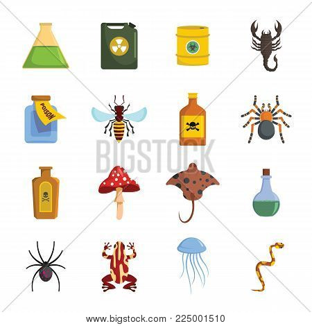 Poison danger toxic icons set. Flat illustration of 16 poison danger toxic vector icons for web