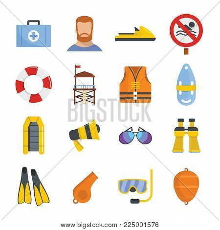 Lifeguard save icons set. Flat illustration of 16 lifeguard save vector icons for web