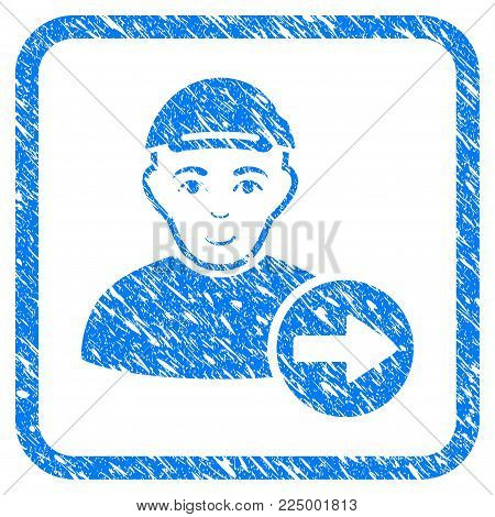 Following Man rubber seal stamp watermark. Icon vector symbol with scratched design and dust texture in rounded square frame. Scratched blue stamp imitation. Person face has enjoy mood.