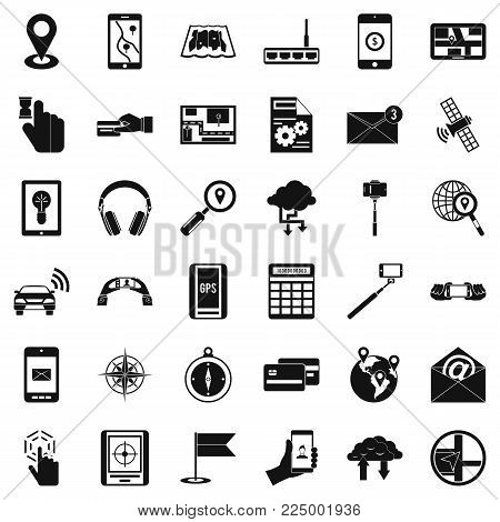 Wireless control icons set. Simple set of 36 wireless control vector icons for web isolated on white background