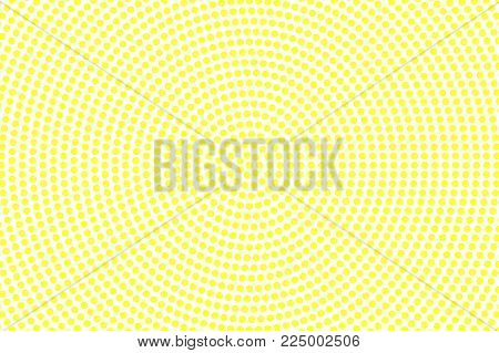 Yellow white dotted halftone. Frequent halftone vector background. Golden dotted pattern. Retro futuristic texture. Yellow dot on transparent backdrop. Abstract pop art modern design template