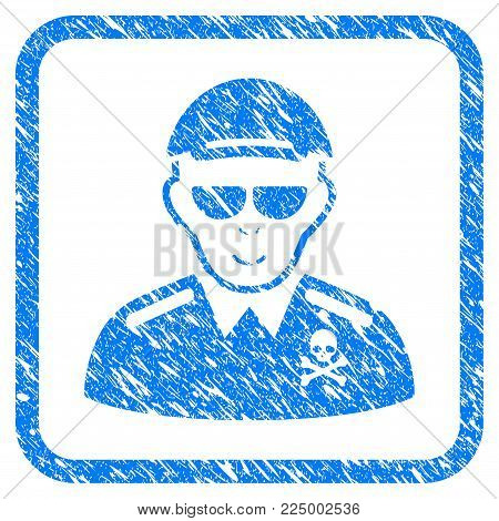 Deadly Officer rubber stamp watermark. Icon vector symbol with unclean design and dirty texture inside rounded squared frame. Scratched blue stamp imitation. Dude face has enjoy feeling.