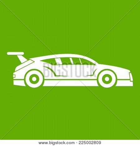 Rally racing car icon white isolated on green background. Vector illustration