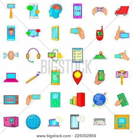 Telecommunication widget icons set. Cartoon set of 36 telecommunication widget vector icons for web isolated on white background