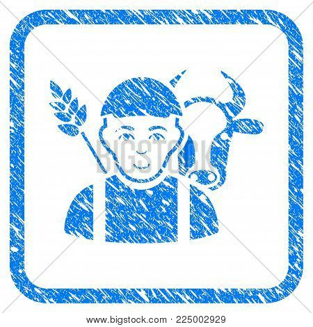 Farmer rubber seal watermark. Icon vector symbol with unclean design and dust texture in rounded square. Scratched blue stamp imitation. Human face has joy feeling. a person from farmer in a cap.
