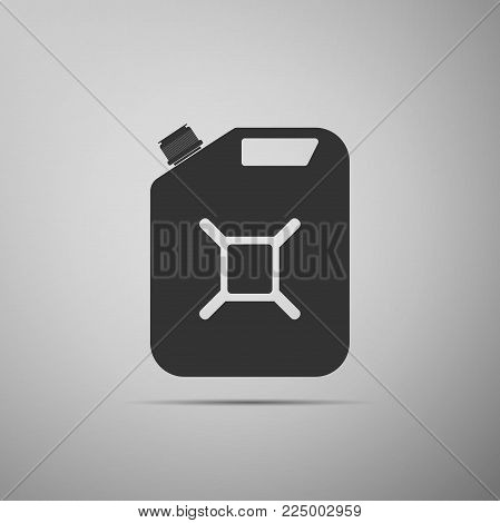 Canister for gasoline icon isolated on grey background. Diesel gas icon. Flat design. Vector Illustration
