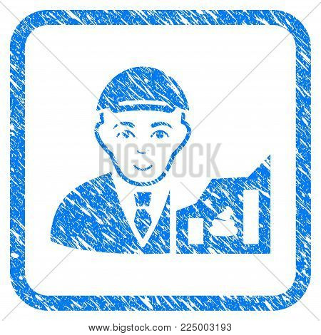 Shitcoin Trader rubber stamp watermark. Icon vector symbol with distress design and corrosion texture inside rounded squared frame. Scratched blue emblem. Man face has enjoy expression.
