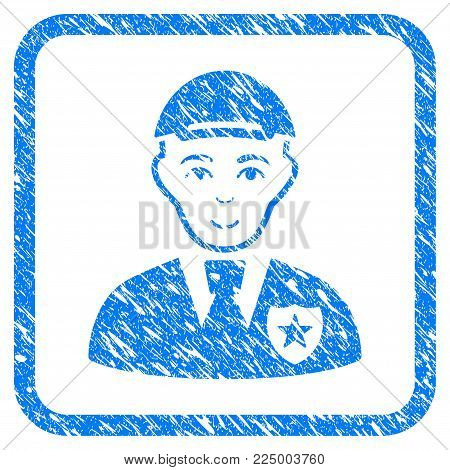 Police Officer rubber seal watermark. Icon vector symbol with grungy design and dirty texture in rounded squared frame. Scratched blue stamp imitation. Person face has enjoy emotions.