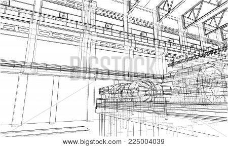 Warehouse Sketch. Vector & Photo (Free Trial) | Bigstock