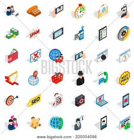 Wireless telecom icons set. Isometric set of 36 wireless telecom vector icons for web isolated on white background