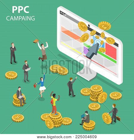 PPC campaign flat isometric vector concept. Concept of search marketing, pay per click advertising.