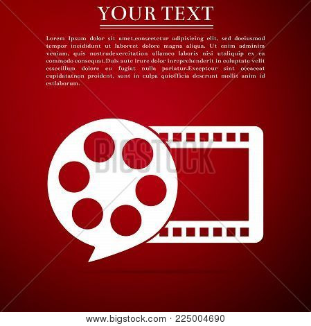 Film reel and play video movie film icon isolated on red background. Flat design. Vector Illustration