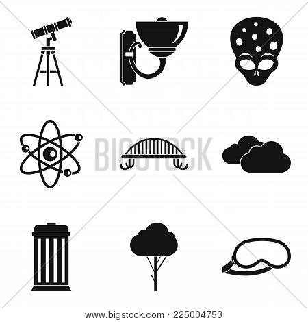 Starry sky icons set. Simple set of 9 starry sky vector icons for web isolated on white background