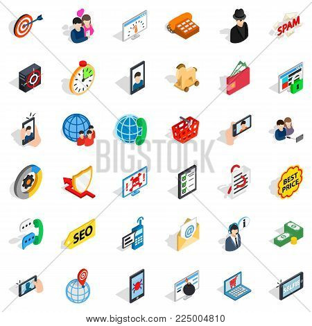 Link icons set. Isometric set of 36 link vector icons for web isolated on white background