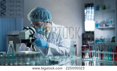 Laboratory worker carefully exploring samples to detect chronic pathologies, stock video