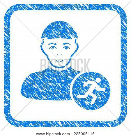 Running Man rubber seal stamp watermark. Icon vector symbol with distress design and corrosion texture inside rounded rectangle. Scratched blue sign. Guy face has happiness emotion.